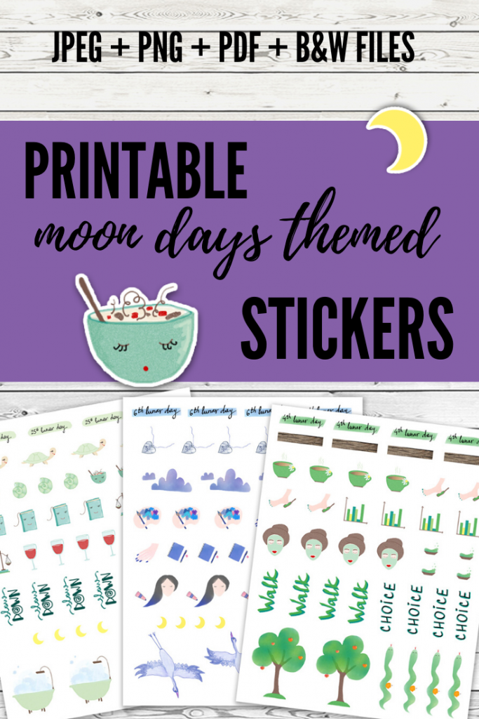 printable moon days themed stickers