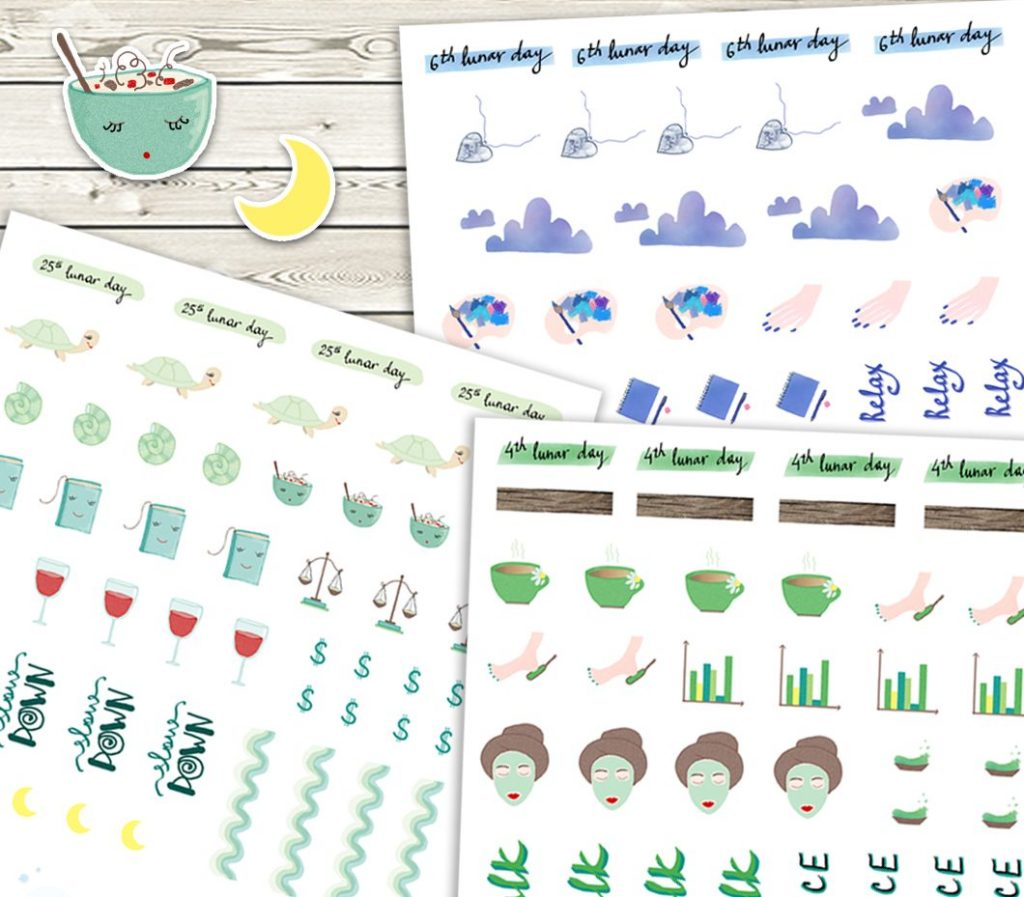 planner moon stickers
